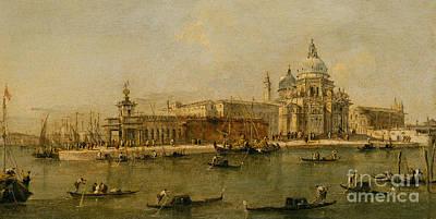 Francesco Guardi Painting - Venice  The Dogana And Santa Maria Della Salute by Francesco Guardi