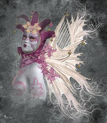 Digital Art - Venice The Mardigras Fairy by Ali Oppy