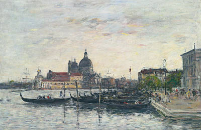 Italian Evening Painting - Venice, The Mole At The Entrance To The Grand Canal And The Salute, Evening by Eugene Louis Boudin