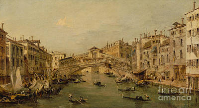 Water Vessels Painting - Venice  The Rialto by Francesco Guardi