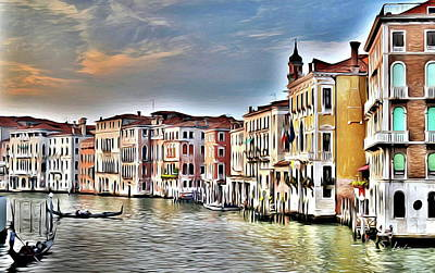 Digital Art - venice waterscape Art Prints by S Art