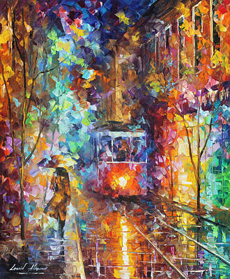 Painting - vening Trolley  by Leonid Afremov