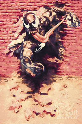 Comics Royalty-Free and Rights-Managed Images - Venom breaking brick wall by Jorgo Photography - Wall Art Gallery