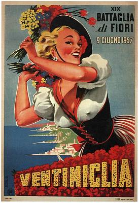 Royalty-Free and Rights-Managed Images - Ventimiclia, Italy - Happy Woman With Flowers - Retro travel Poster - Vintage Poster by Studio Grafiikka