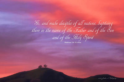 Art Print featuring the photograph Ventura Ca Two Trees At Sunset With Bible Verse by John A Rodriguez