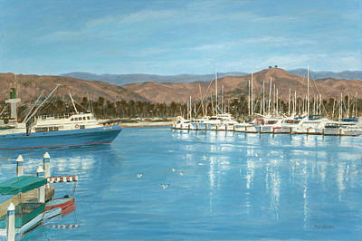 Ventura Harbor And The Two Trees Art Print by Tina Obrien