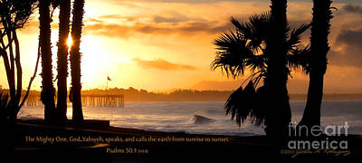 Art Print featuring the photograph Ventura California Sunrise With Bible Verse by John A Rodriguez