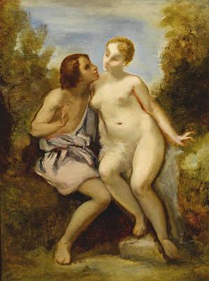 Painting - Venus And Adonis by Narcisse-Virgile Diaz de la Pena
