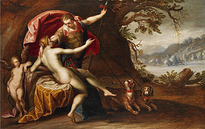 Painting - Venus And Adonis With Hounds by Hans von Aachen and Workshop