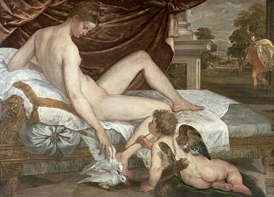 Drapery Painting - Venus And Cupid by Lambert Sustris