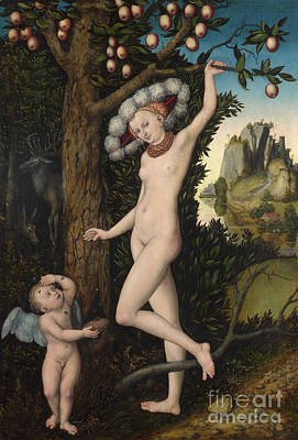Elaborate Painting - Venus And Cupid by Lucas the elder Cranach