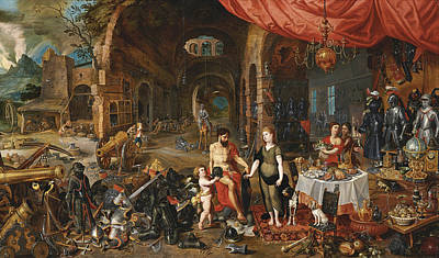 The Forge Of Vulcan Painting - Venus At The Forge Of Vulcan by Jan Brueghel the Younger