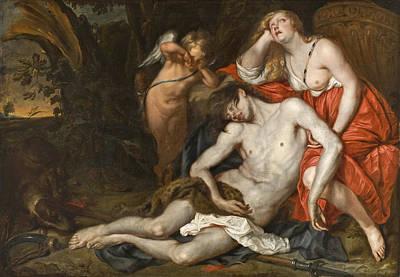 Painting - Venus Bewailing The Death Of Adonis by Workshop of Thomas Willeboirts Bosschaert
