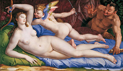 Painting - Venus, Cupid And A Satyr by Bronzino