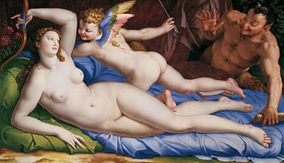 Satyr Painting - Venus, Cupido And Satyr by Agnolo Bronzino