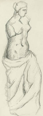 Venus De Milo Drawing - Venus De Milo by Paul Cezanne