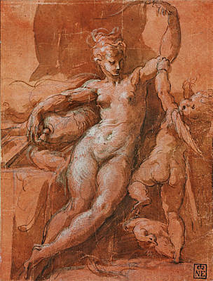 Drawing - Venus Disarming Cupid by Parmigianino