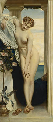 Frederic Leighton Painting - Venus Disrobing For The Bath by Frederic Leighton