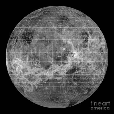 Venus Surface Photograph - Venus, Global View, Centered At Long by Science Source