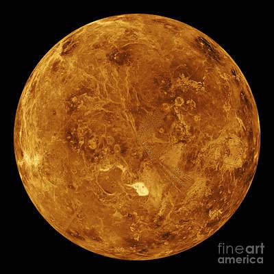 Magellan Probe Photograph - Venus, Global View, Northern Hemisphere by Science Source