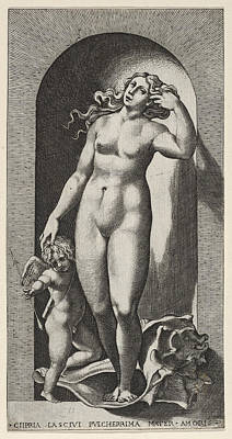 Drawing - Venus In A Niche by Giovanni Jacopo Caraglio