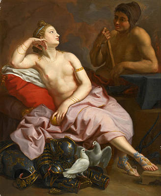 The Forge Of Vulcan Painting - Venus In The Forge Of Vulcan by Circle of Jean-Simon Berthelemy
