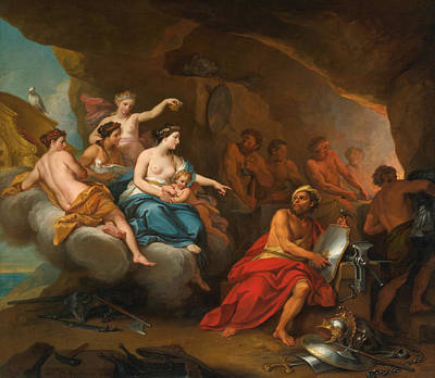 The Forge Of Vulcan Painting - Venus In The Forge Of Vulcan by Louis de Boullogne the Younger