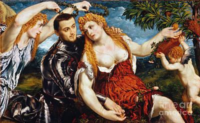Romance Renaissance Photograph - Venus, Mars & Cupid by Granger