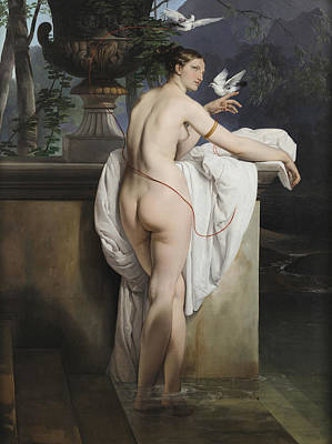 Nudist Painting - Venus Playing With Two Doves  by Francesco Hayez