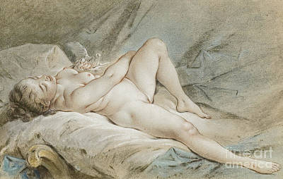 Boucher Painting - Venus Playing With Two Doves by Francois Boucher