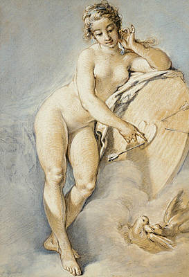 Drawing - Venus Standing, Gesturing Towards A Heart On A Target With Two Doves by Francois Boucher