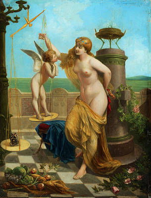 Rooftops Painting - Venus Weigh Amor by Henri Pierre Picou