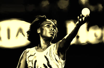 Serena Williams Painting - Venus Williams Match Point by Brian Reaves