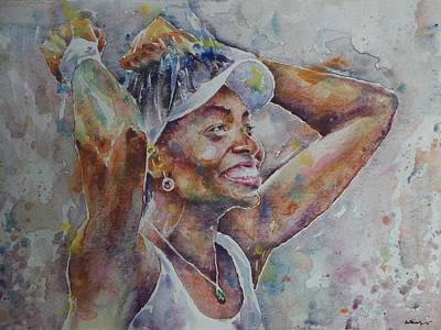 Venus Williams Painting - Venus Williams - Portrait 1 by Baresh Kebar - Kibar