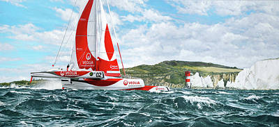 Painting - Veolia Environnement Trimaran, Rolex Fastnet Race by Mark Woollacott