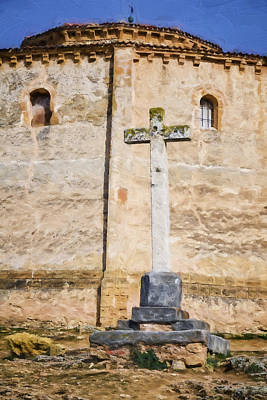Medieval Temple Photograph - Vera Cruz Cross by Joan Carroll