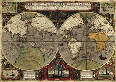 Painting - Vera Totius Expeditionis Nauticae Of 1595 by Jodocus Hondius