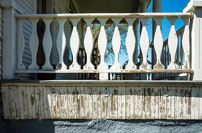 Log Cabin Art Photograph - Veranda Rail Detail On Farm House by Donald  Erickson