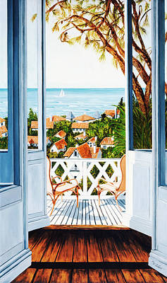 Sail Boat Painting - Veranda View, Prints From Original Oil Painting  by Mary Grden Fine Art Oil Painter Baywood Gallery