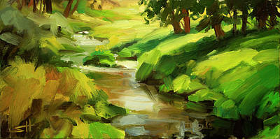 Abstract Landscape Painting - Verdant Banks by Steve Henderson