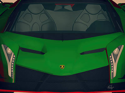 Switzerland Mixed Media - Verde Lamborghini Veneno by Edier C