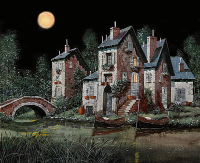 Dark Wall Art - Painting - Verde Notturno by Guido Borelli