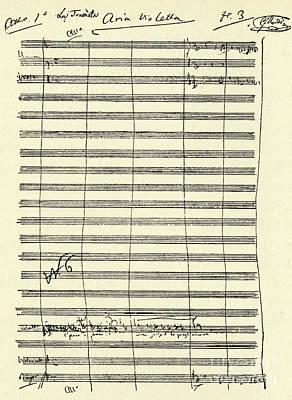 Verdi Wall Art - Drawing - Verdi Traviata Score  Aria For Violetta by Giuseppe Verdi