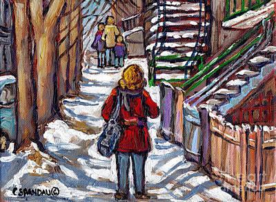 Montreal Memories Painting - Verdun Art Winter Walk Canadian Paintings Girl In Red Jacket Montreal Street Scenes Art by Carole Spandau