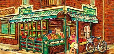 Montreal Memories Painting - Verdun Corner Grocery Store Fruiterie Soleil Montreal Summer Scene Shopping In The City Canadian Art by Carole Spandau