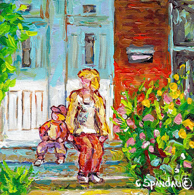 Painting - Verdun Doors Duplex Porch Scene Canadian Painting Mom And Tot On Steps Carole Spandau Montreal Art by Carole Spandau