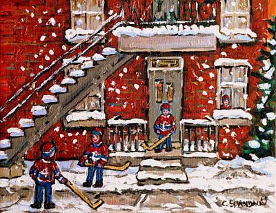 Carole Spandau Hockey Art Painting - Verdun Duplex In The Snow Little Bys Hockey Game Best Montreal Paintings Canadian Art C Spandau by Carole Spandau