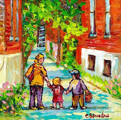 Painting - Verdun Laneway Painting Short Cut Mom And Kids Afternoon Stroll Canadian Scenes Quebec Art C Spandau by Carole Spandau