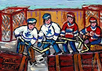 Street Hockey Painting - Verdun Montreal Hockey Rink Paintings Original Six Maple Leafs Vs Habs Carole Spandau              by Carole Spandau