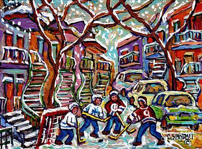 Painting - Verdun Montreal Quebec Hockey Winter  Painting Row Houses Winding Staircases Canadian Art C Spandau by Carole Spandau